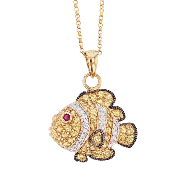 14K Yellow Gold Yellow Sapphire, Ruby, & Diamond Fish Pendant Necklace, Necklaces, Nazar's & Co. - Nazar's & Co.