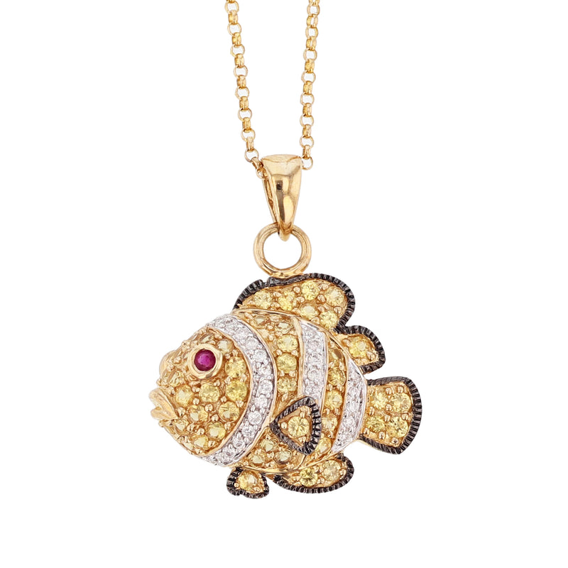 14K Yellow Gold Yellow Sapphire, Ruby, and Diamond Fish Pendant Necklace - Nazar's & Co.