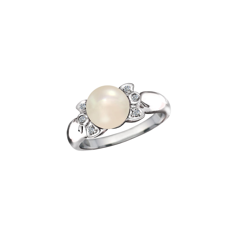 18K White Gold Cultured Pearl and Diamond Ring - Nazar's & Co.