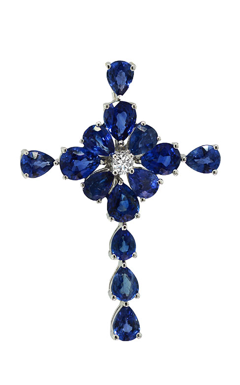 18K White Gold Sapphire and Diamond Cross Pendant - Nazar's & Co.