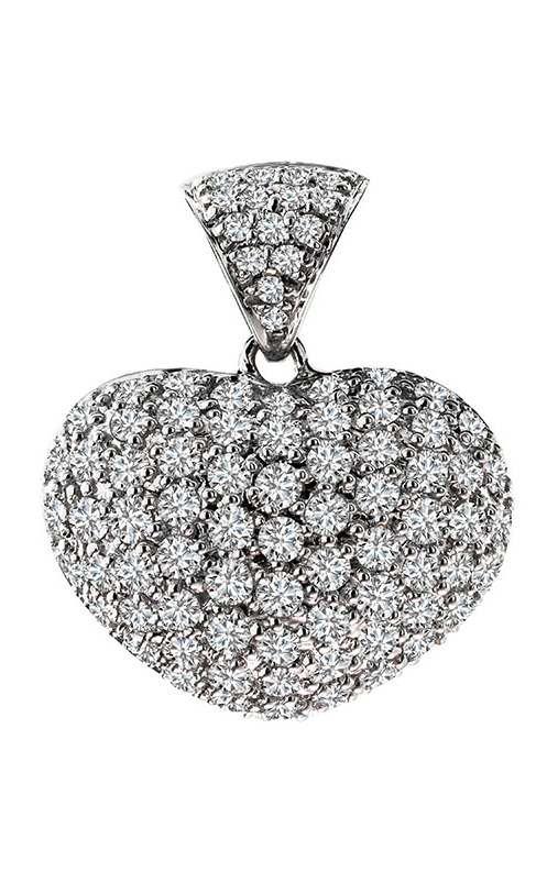 18K White Gold and Diamond Heart Pendant - Nazar's & Co.