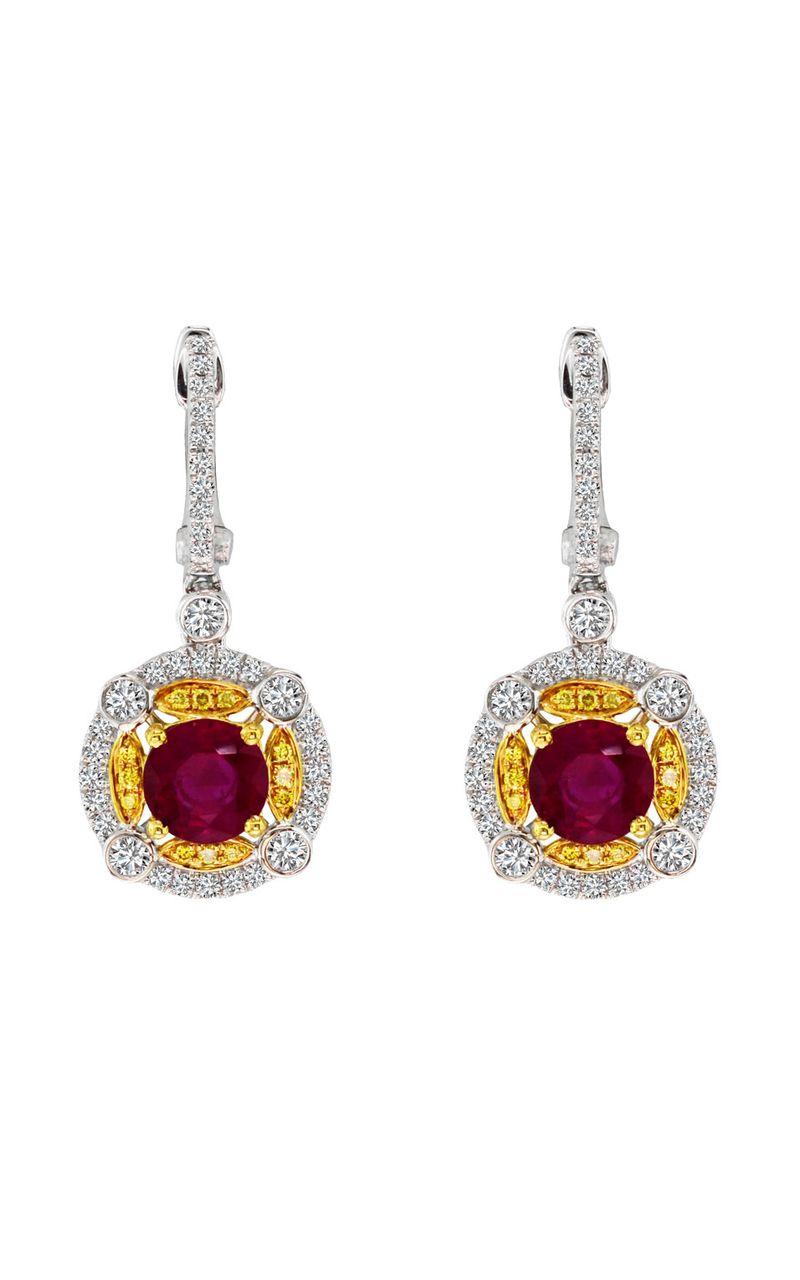White and Yellow Gold Ruby, Yellow Diamond, and Diamond Earrings, Earrings, Nazar's & Co. - Nazar's & Co.