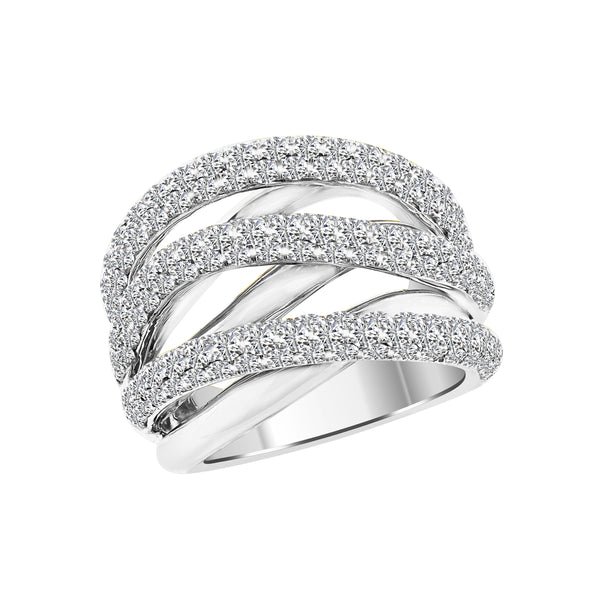White Gold Criss Cross Diamond Ring, Rings, Nazar's & Co. - Nazar's & Co.