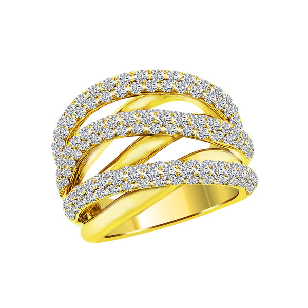 Yellow Gold Criss Cross Diamond Ring, Rings, Nazar's & Co. - Nazar's & Co.