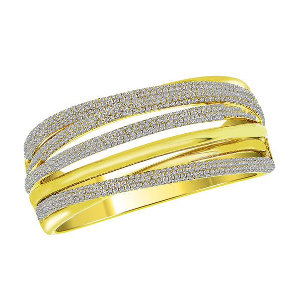 18K Yellow Gold Diamond Bangle - Nazar's & Co.