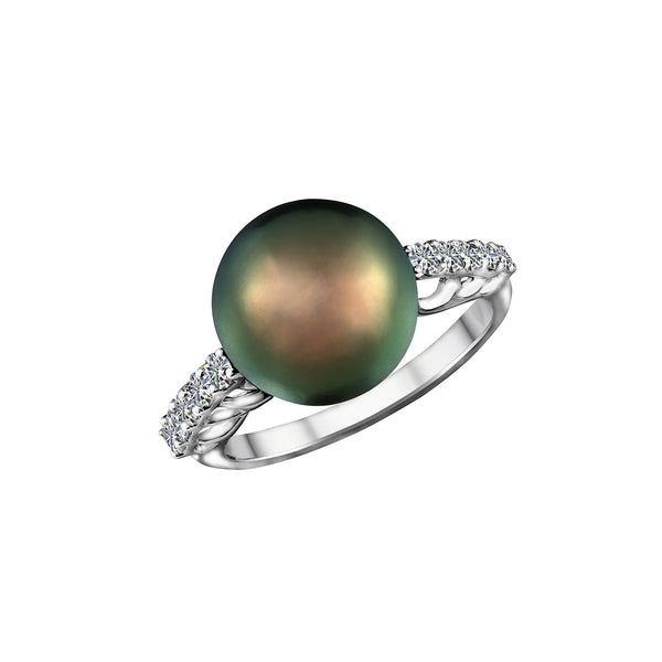 18K White Gold Tahitian Pearl and Diamond Ring, Rings, Nazar's & Co. - Nazar's & Co.