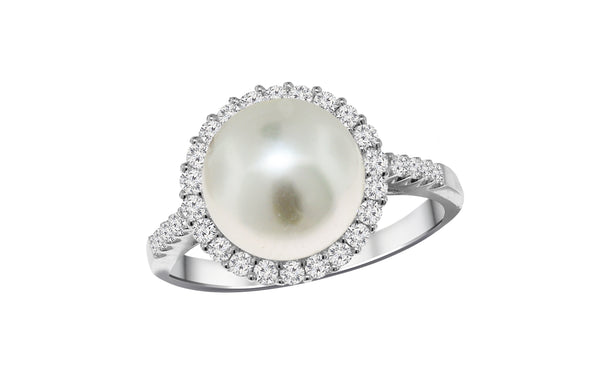 18K White Gold South Sea Pearl and Diamond Ring, Rings, Nazar's & Co. - Nazar's & Co.