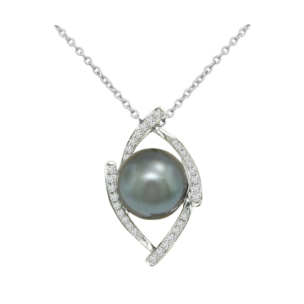 18K White Gold Tahitian Pearl and Diamond Pendant - Nazar's & Co.