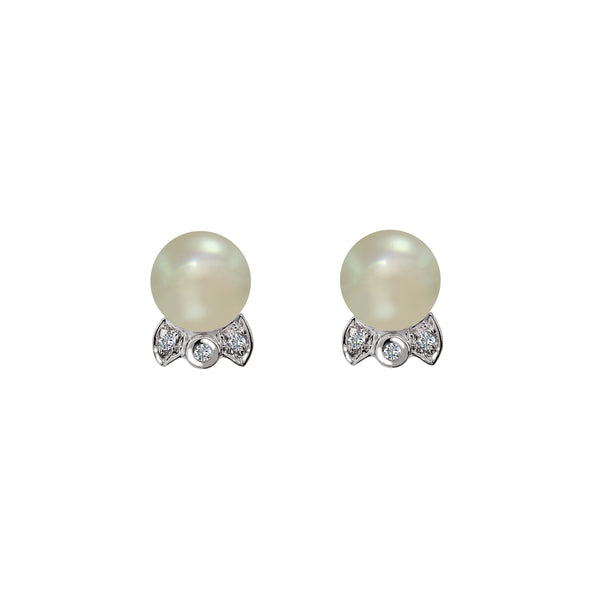 18K White Gold Cultured Pearl and Diamond Stud Earrings, Earrings, Nazar's & Co. - Nazar's & Co.