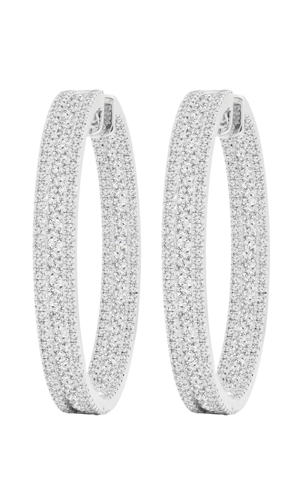 18K White Gold and Diamond Hoop Earrings, Earrings, Nazar's & Co. - Nazar's & Co.