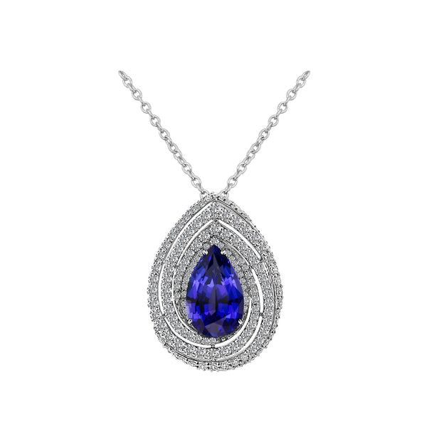 14K White Gold 6.87 Carat Pear Shaped Tanzanite and Diamond Pendant Necklace - Nazar's & Co.