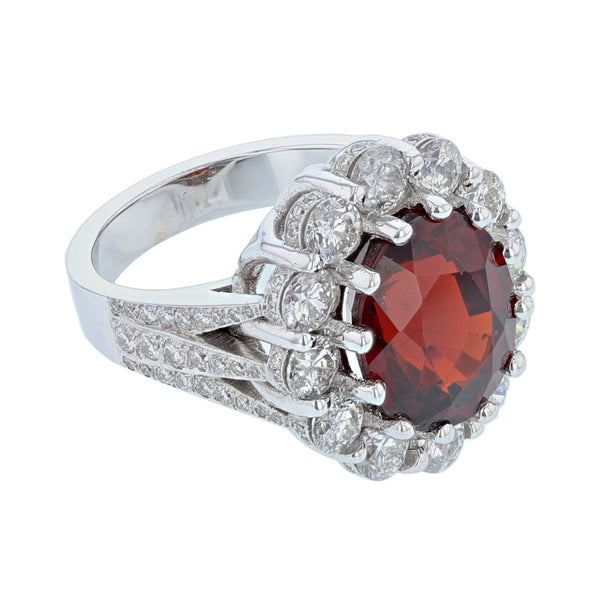 14K White Gold Oval Natural Spessartite Garnet and Diamond Ring, Rings, Nazar's & Co. - Nazar's & Co.