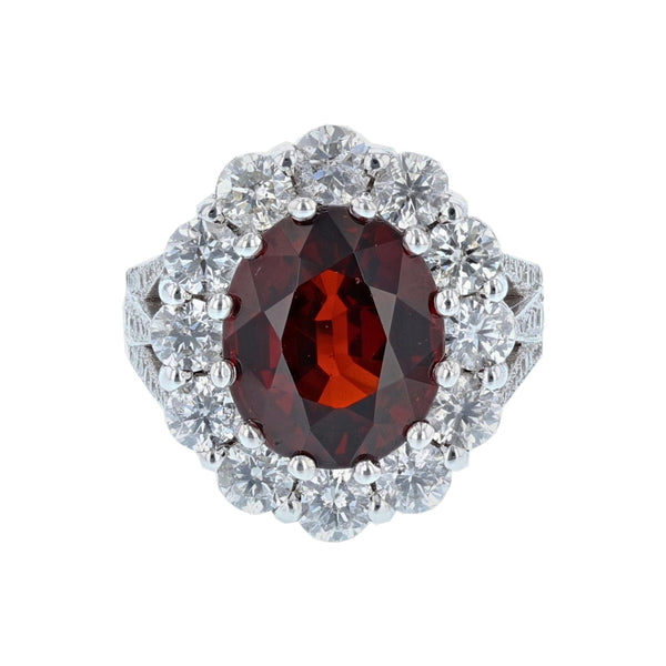 14K White Gold Oval Natural Spessartite Garnet and Diamond Ring - Nazar's & Co.