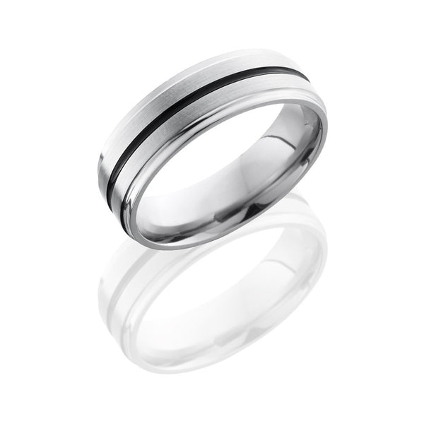 Lashbrook Titanium Sand Polished Men's Wedding Band, Rings, Nazar's & Co. - Nazar's & Co.