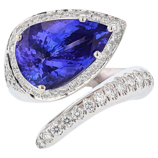 14K White Gold 7.10 Carat Pear Tanzanite and Diamond Ring - Nazar's & Co.