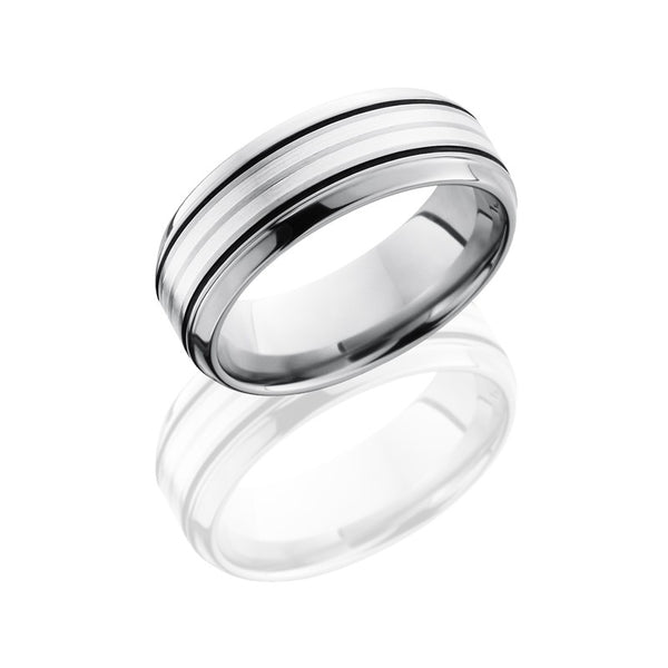 Lashbrook Titanium Satin Polished Men's Wedding Band, Rings, Nazar's & Co. - Nazar's & Co.