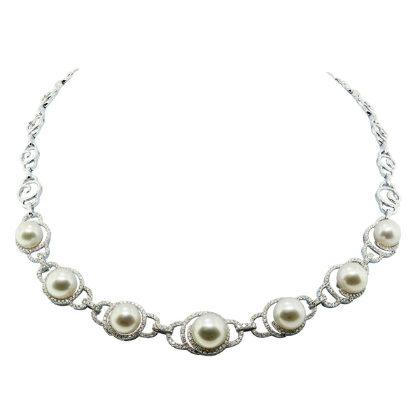 18K White Gold South Sea Pearl and Diamond Necklace, Necklaces, Nazar's & Co. - Nazar's & Co.