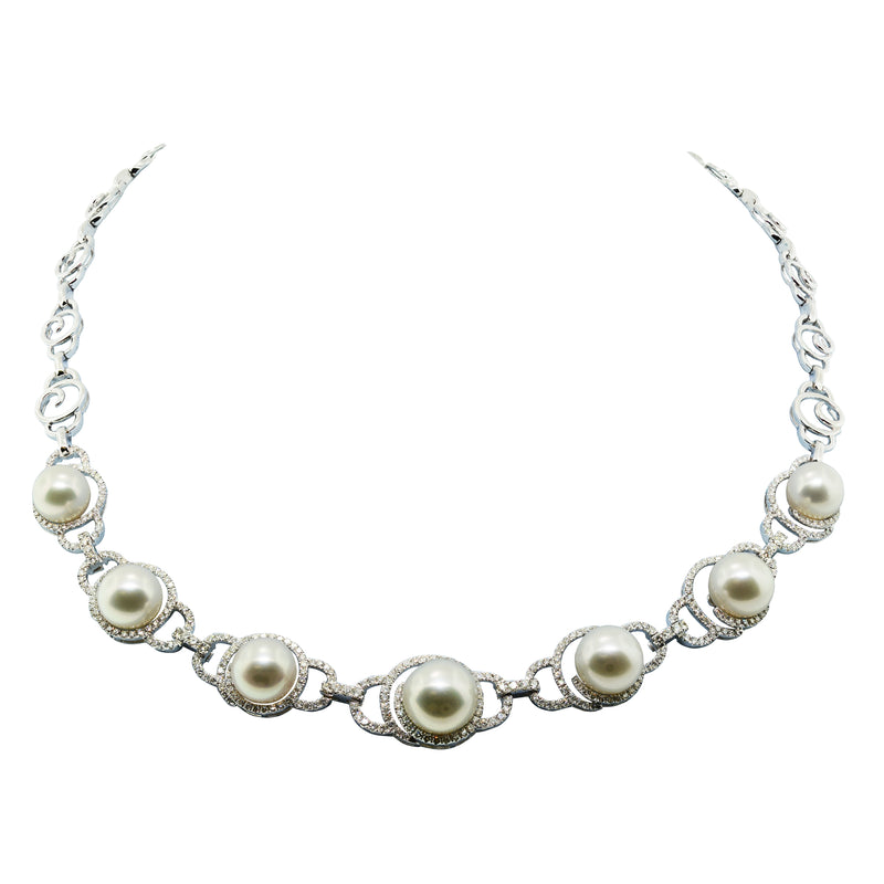 18K White Gold South Sea Pearl and Diamond Necklace - Nazar's & Co.
