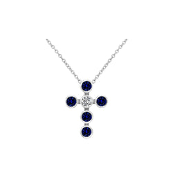 Nazar's Collection Blue Sapphire and Diamond Cross Pendant Necklace, Necklaces, Nazar's & Co. - Nazar's & Co.