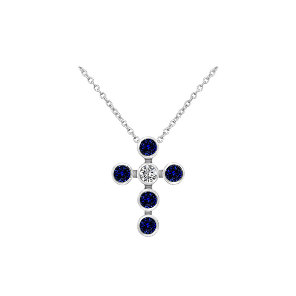 14K White Gold Sapphire and Diamond Cross Pendant - Nazar's & Co.