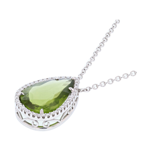 14K White Gold 18.01 Carat Peridot and Diamond Pendant, Necklaces, Nazar's & Co. - Nazar's & Co.