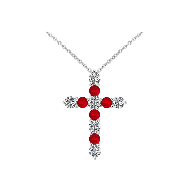 Nazar's Collection Diamond and Ruby Cross Pendant Necklace - Nazar's & Co.