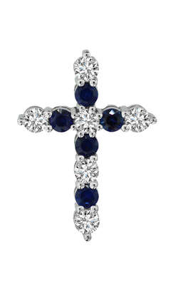 14K White Gold Blue Sapphire and Diamond Cross Pendant, Necklaces, Nazar's & Co. - Nazar's & Co.