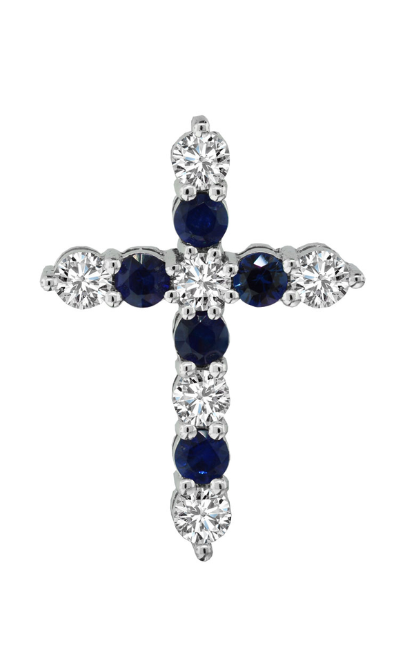 14K White Gold Blue Sapphire and Diamond Cross Pendant - Nazar's & Co.