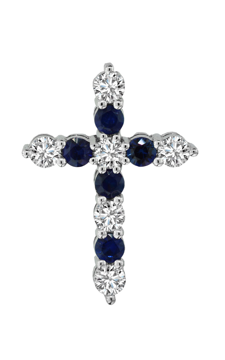 14K White Gold Diamond and Sapphire Cross Pendant Necklace - Nazar's & Co.