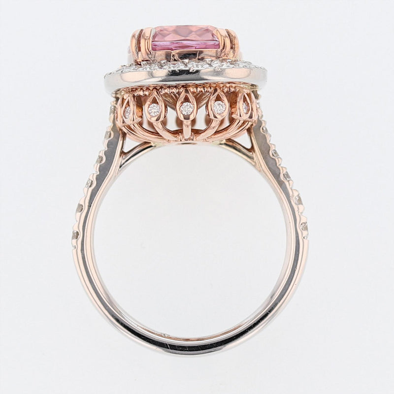 Nazarelle 14 Karat White and Rose Gold Cushion Cut Morganite and Diamond Ring - Nazar's & Co.