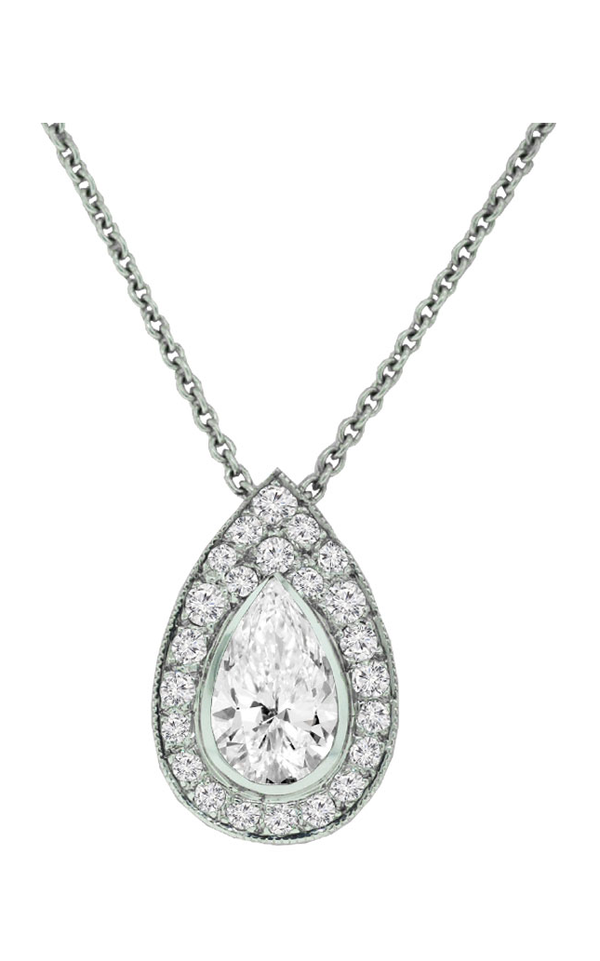 14K White Gold Diamond Pendant - Nazar's & Co.