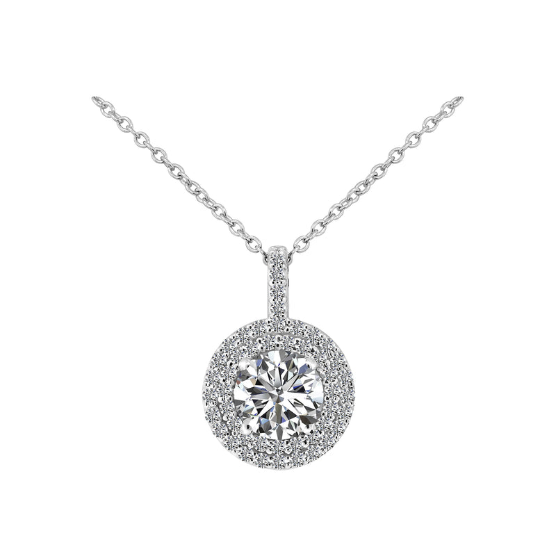 Round Diamond with Halo Pendant Necklace, Necklaces, Nazar's & Co. - Nazar's & Co.