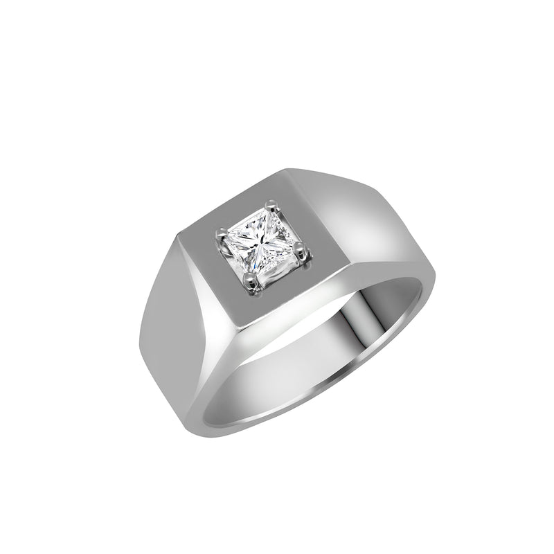 Men's 14K White Gold Princess Cut Diamond Ring - Nazar's & Co.