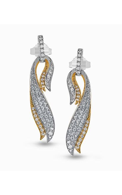 Garden Collection 18K White and Yellow Gold Diamond Earrings, Earrings, Nazar's & Co. - Nazar's & Co.