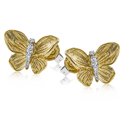 Simon G. Butterfly Yellow Gold and Diamond Earrings - Nazar's & Co.