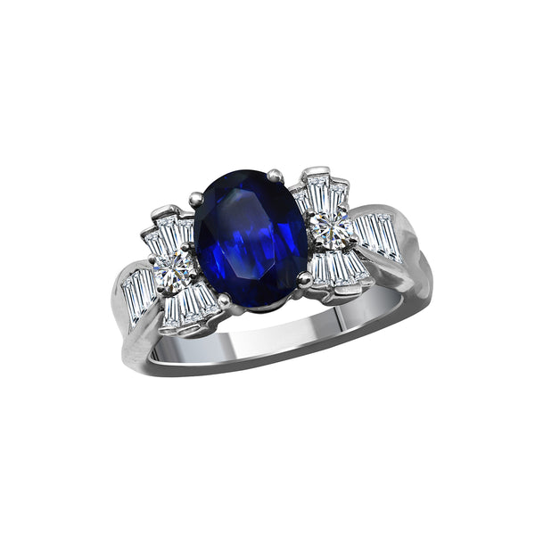 Platinum Sapphire and Diamond Ring, Rings, Nazar's & Co. - Nazar's & Co.