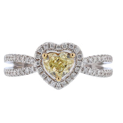 18K White and Yellow Gold Heart Shaped Yellow Diamond Ring, Rings, Nazar's & Co. - Nazar's & Co.