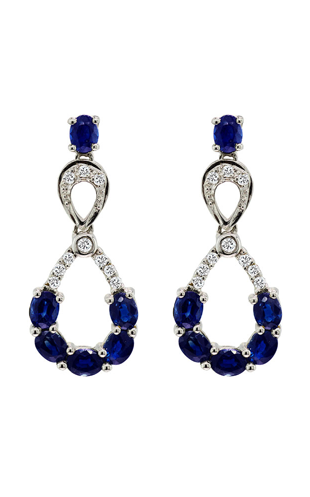 14K White Gold Blue Sapphire and Diamond Earrings, Earrings, Nazar's & Co. - Nazar's & Co.