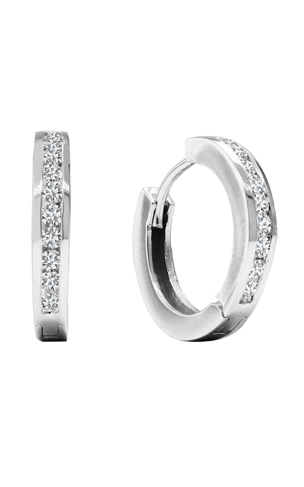 14K White Gold and Diamond Hoop Earrings, Earrings, Nazar's & Co. - Nazar's & Co.