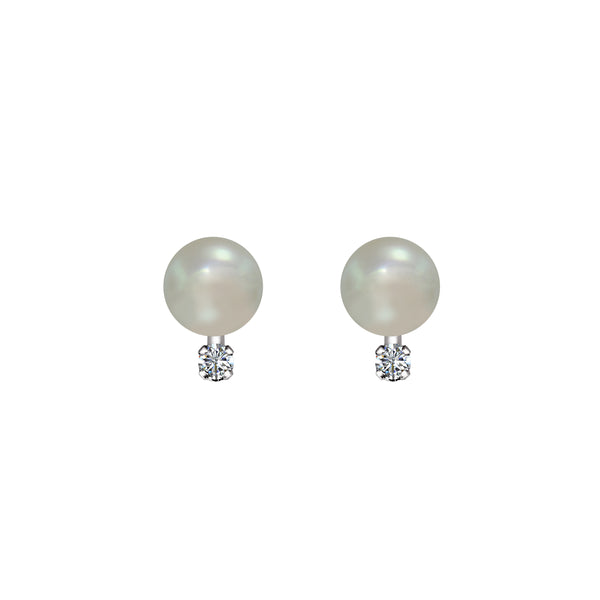 14K Yellow Gold Cultured Pearl and Diamond Stud Earrings - Nazar's & Co.
