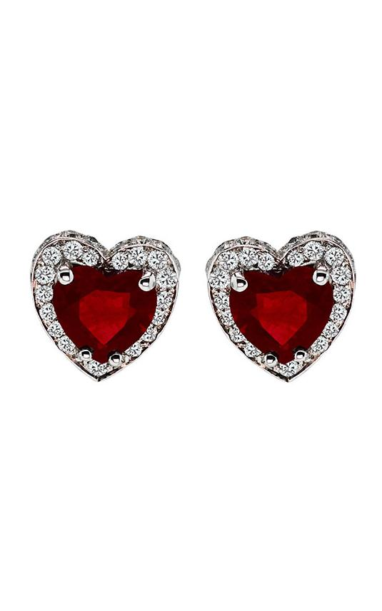 14K White Gold Ruby and Diamond Heart Studs, Earrings, Nazar's & Co. - Nazar's & Co.