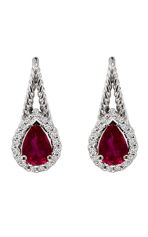 14K White Gold Ruby and Diamond Earrings - Nazar's & Co.