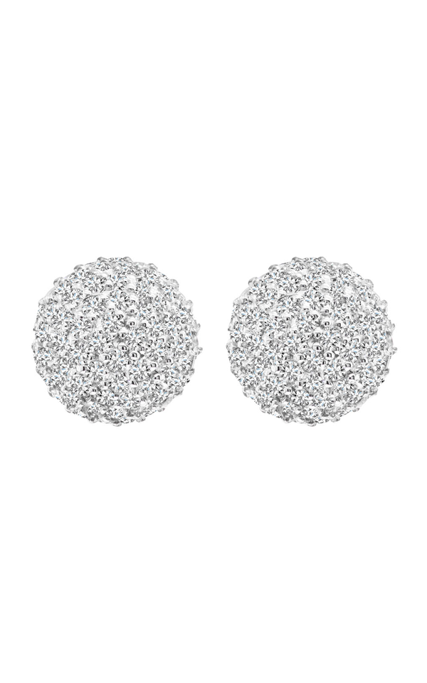 14K White Gold and Diamond Cluster Earrings, Earrings, Nazar's & Co. - Nazar's & Co.