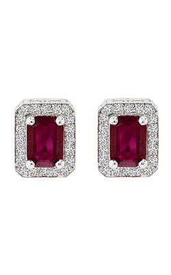 14K White Gold 2.40 Carat Emerald Cut Ruby and Diamond Studs, Earrings, Nazar's & Co. - Nazar's & Co.
