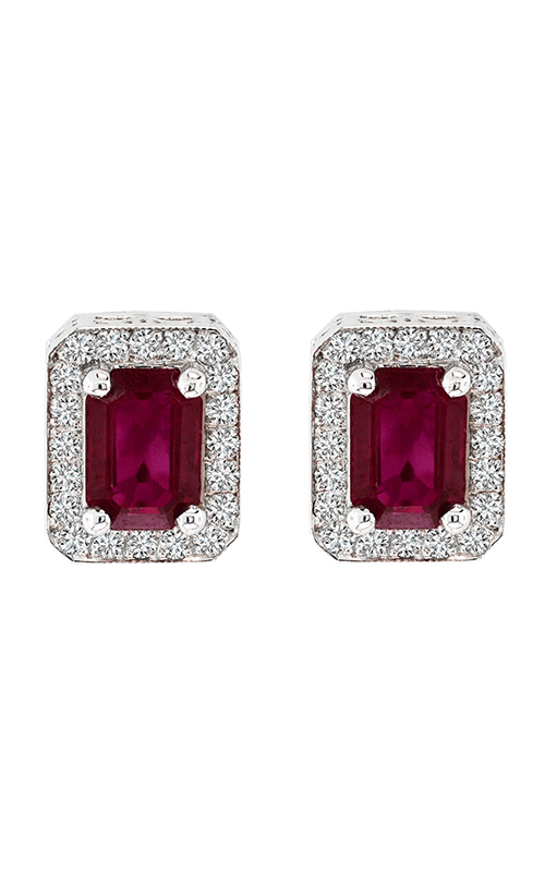 14K White Gold 2.40 Carat Emerald Cut Ruby and Diamond Studs - Nazar's & Co.