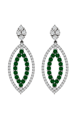 14K White Gold Emerald and Diamond Earrings, Earrings, Nazar's & Co. - Nazar's & Co.