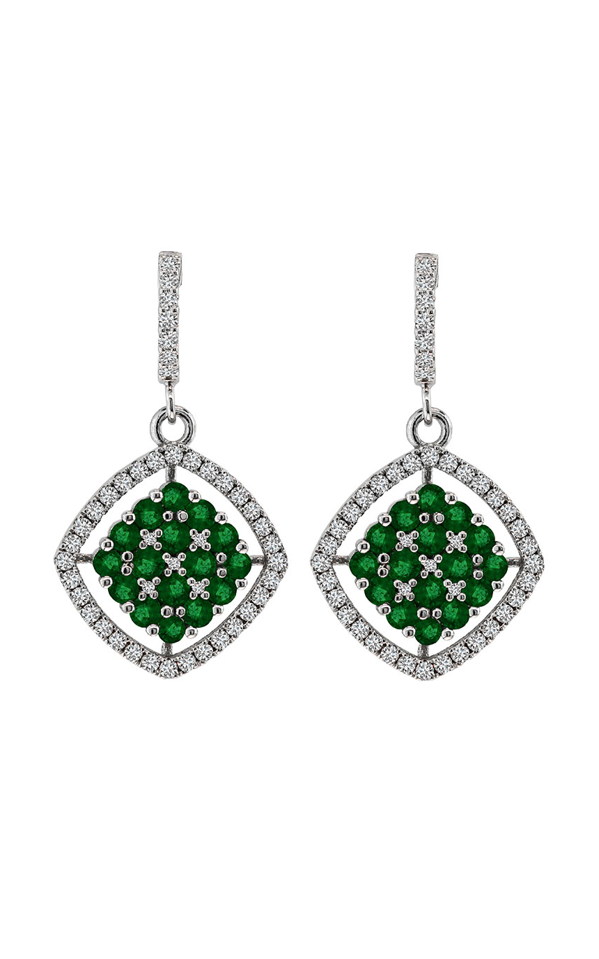 Nazar Couture Emerald Cluster and Diamond Earrings, Earrings, Nazar's & Co. - Nazar's & Co.