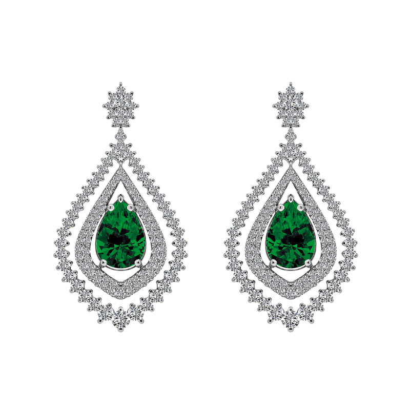 Nazar Couture Emerald and Diamond Earrings, Earrings, Nazar's & Co. - Nazar's & Co.