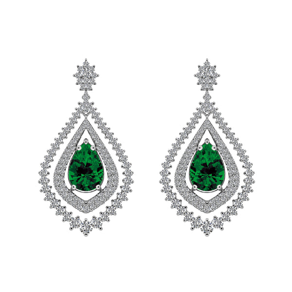 14K White Gold 2.28 Carat Emerald and Diamond Earrings - Nazar's & Co.