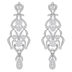14K White Gold and Diamond Earrings, Earrings, Nazar's & Co. - Nazar's & Co.